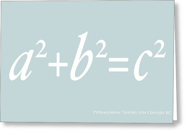 Canvas Art Prints Greeting Cards - Pythagoras Maths Equation Greeting Card by Michael Tompsett