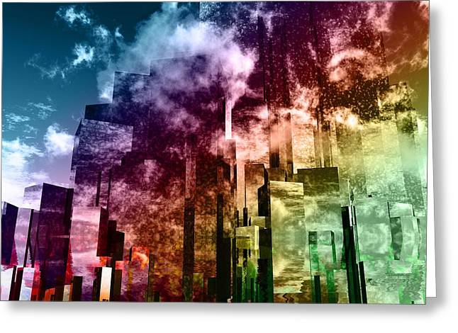Town Mixed Media Greeting Cards - Q-City Three Greeting Card by Max Steinwald