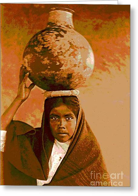 Qahatika Water Girl Greeting Card by Padre Art