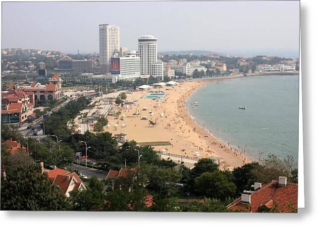 China Beach Greeting Cards - Qingdao Beach with Skyline Greeting Card by Carol Groenen