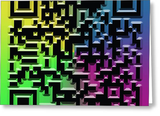 Identification Symbol Greeting Cards - QR Art Greeting Card by Ricky Barnard