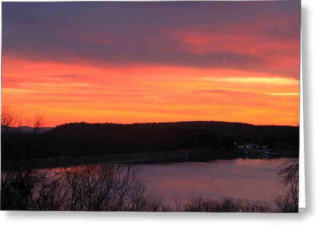 Quabbin Reservoir Windsor Dam Sunset Greeting Card by John Burk
