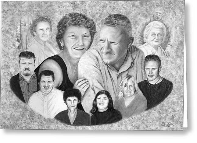Pencil Greeting Cards - Quade Family Portrait  Greeting Card by Peter Piatt