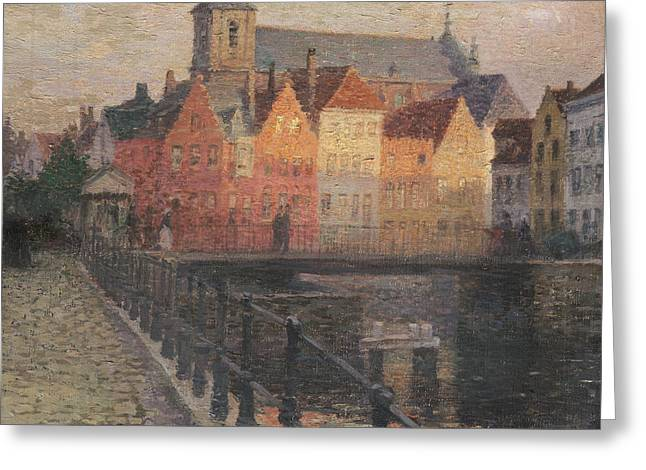 Bruges Greeting Cards - Quai de la Paille Greeting Card by Paul Albert Steck