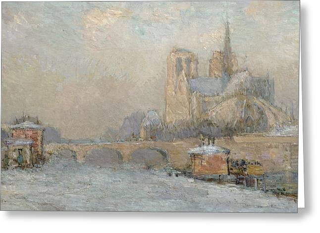 Parisian Greeting Cards - Quai de la Tournelle and Notre-Dame de Paris Greeting Card by Albert-Charles Lebourg