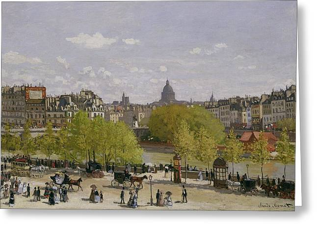 Carriage Road Greeting Cards - Quai du Louvre in Paris Greeting Card by Claude Monet