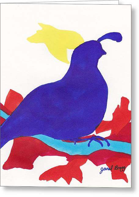 Cut-outs Drawings Greeting Cards - Quail in Ultramarine Greeting Card by Janel Bragg