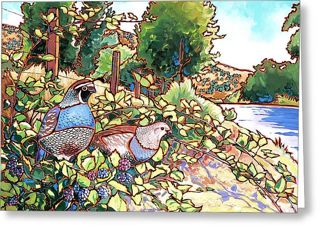 Nadi Spencer Paintings Greeting Cards - Quails and Blackberries Greeting Card by Nadi Spencer