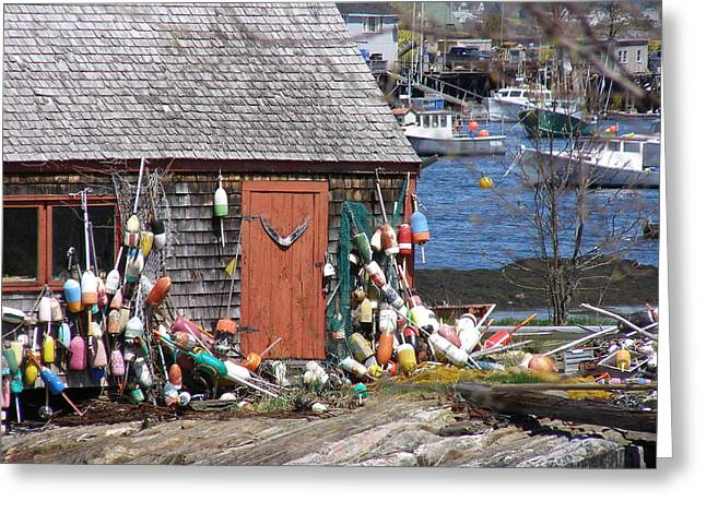 Lobster Shack Greeting Cards - Quaint Maine Lobster Shack Greeting Card by Judith Hayes