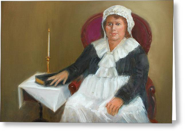 Quaker Paintings Greeting Cards - Quaker Lady Greeting Card by Marjorie Harris