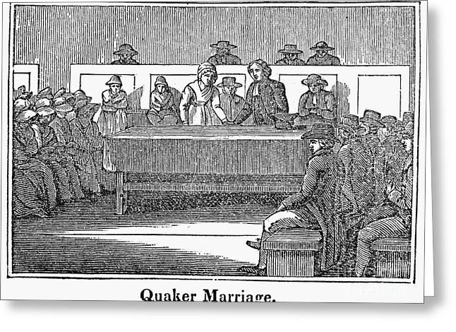 1842 Photographs Greeting Cards - Quaker Marriage, 1842 Greeting Card by Granger