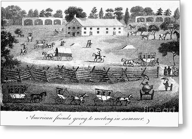 1811 Greeting Cards - Quaker Meeting, 1811 Greeting Card by Granger