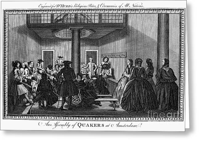 Quaker Greeting Cards - QUAKER MEETING, c1790 Greeting Card by Granger
