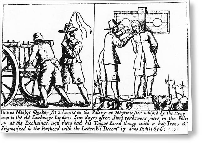 1656 Greeting Cards - Quaker Persecution Greeting Card by Granger