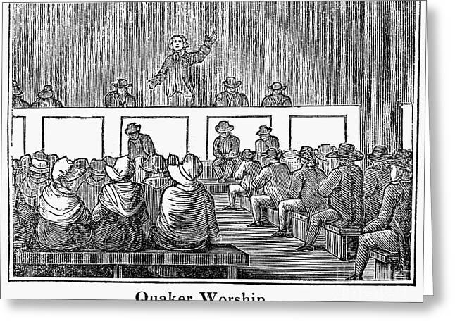 Quaker Worship, 1842 Greeting Card by Granger