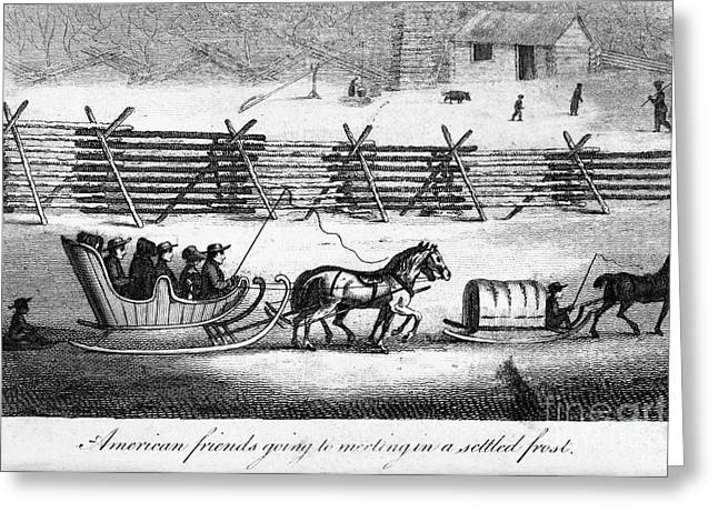Sled.fence Greeting Cards - Quakers Going To Meeting Greeting Card by Granger