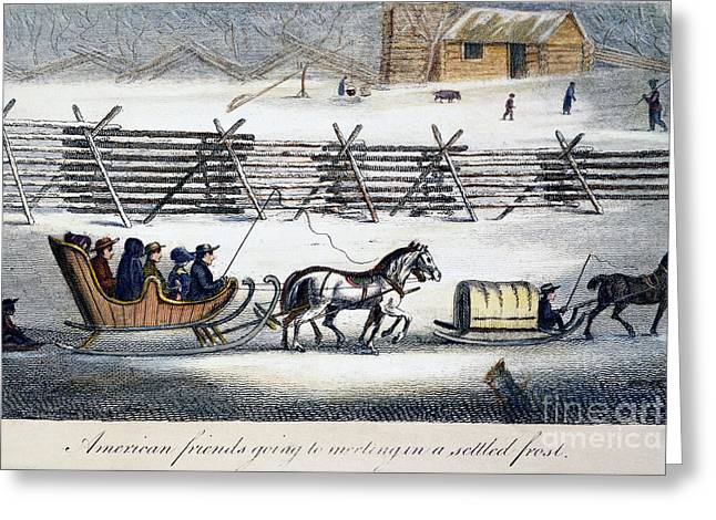 Sled.fence Greeting Cards - Quakers Greeting Card by Granger