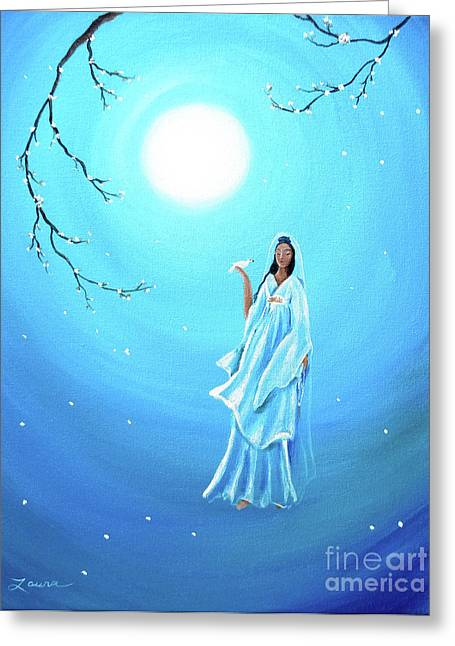 Quan Yin Art Greeting Cards - Quan Yin in Teal Moonlight Greeting Card by Laura Iverson