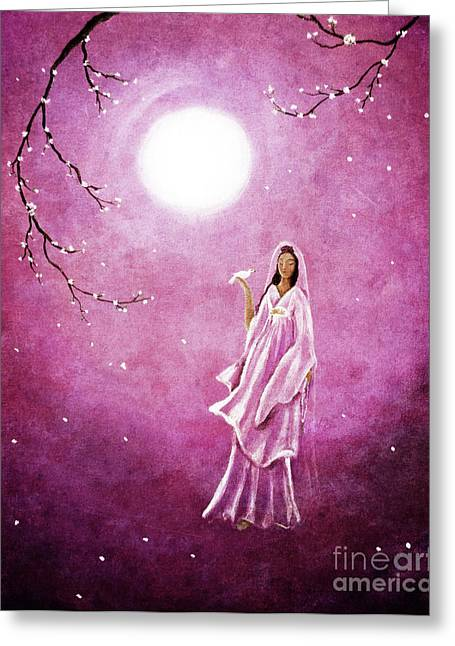 Quan Greeting Cards - Quan Yin in the Rosy Dawn Greeting Card by Laura Iverson