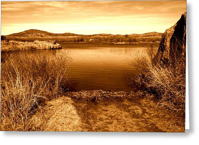 Mickey Harkins Greeting Cards - Quanah Parker Lake Greeting Card by Mickey Harkins
