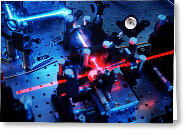Observer Photographs Greeting Cards - Quantum Cryptography Equipment Greeting Card by Volker Steger
