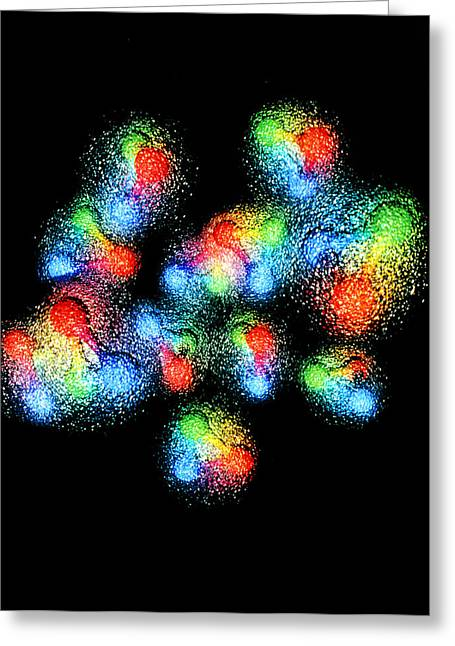 Quark Greeting Cards - Quark Structure Of Carbon Atom Nucleus Greeting Card by Arscimed