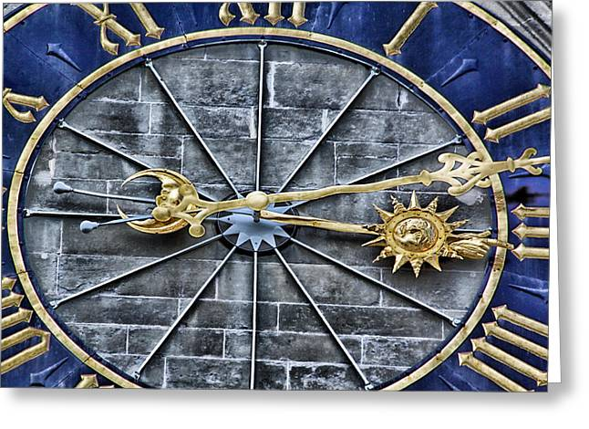 Clock Hands Greeting Cards - Quarter Past Greeting Card by Lauri Novak