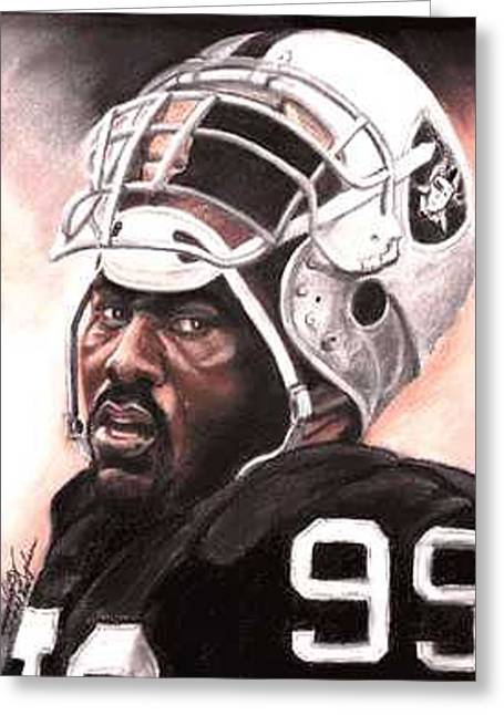 Oakland Paintings Greeting Cards - Quarterback Killer - Warren Sapp Greeting Card by Kenneth Kelsoe