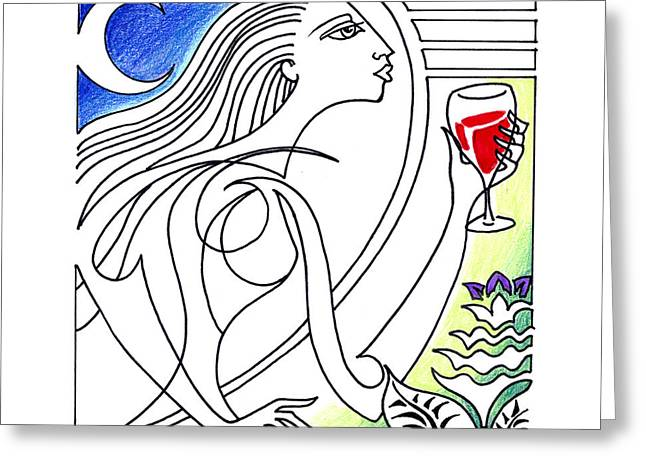 Pinot Drawings Greeting Cards - Que Syrah Greeting Card by Roy Guzman