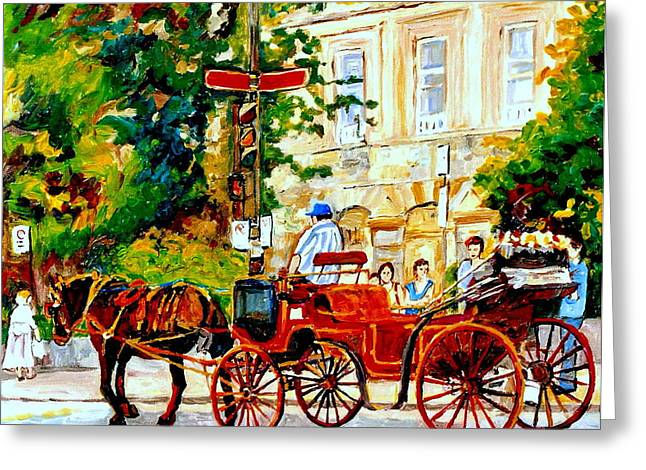 Quebec City Street Scene The Red Caleche Greeting Card by Carole Spandau