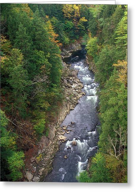 Quechee Greeting Cards - Quechee Gorge Early Autumn Greeting Card by John Burk