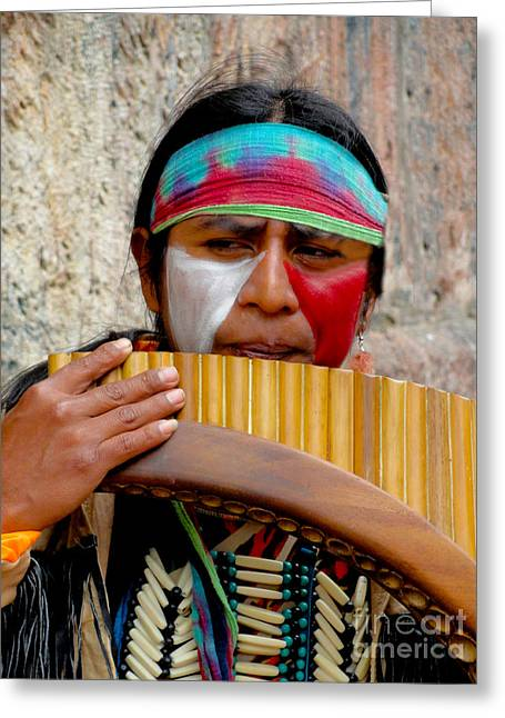 Colonial Man Photographs Greeting Cards - Quechuan Pan Flute Player Greeting Card by Al Bourassa