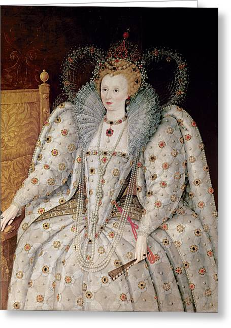 English Paintings Greeting Cards - Queen Elizabeth I of England and Ireland Greeting Card by Anonymous