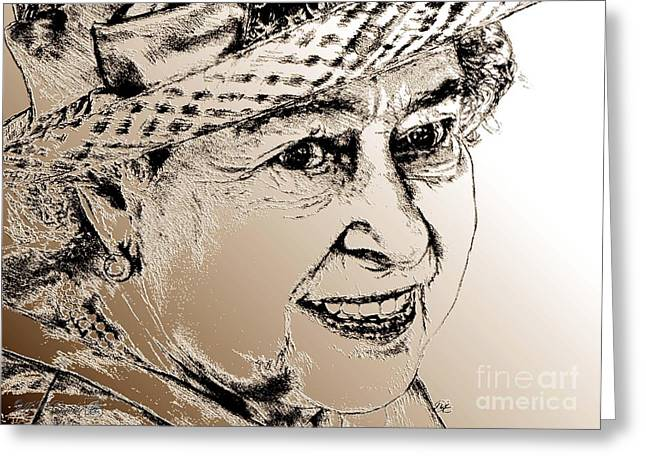 British Celebrities Mixed Media Greeting Cards - Queen Elizabeth II in 2012 Greeting Card by J McCombie