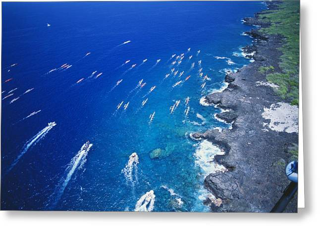 Far Above Greeting Cards - Queen Liliuokalani canoe race Greeting Card by Peter French - Printscapes