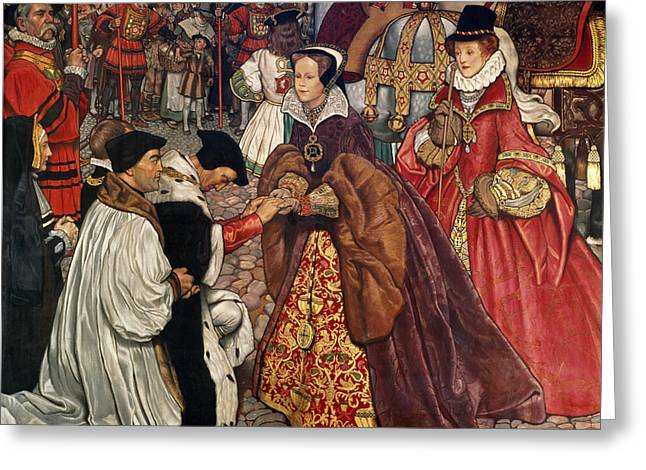 Arrival Greeting Cards - Queen Mary and Princess Elizabeth entering London Greeting Card by John Byam Liston Shaw