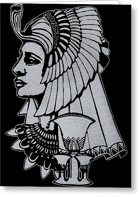 Queen Glass Art Greeting Cards - Queen Nefertiti Greeting Card by Jim Ross