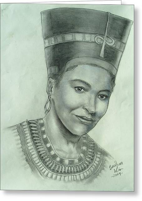 African-american Drawings Greeting Cards - Queen Nefrititi Greeting Card by Basheer Alim