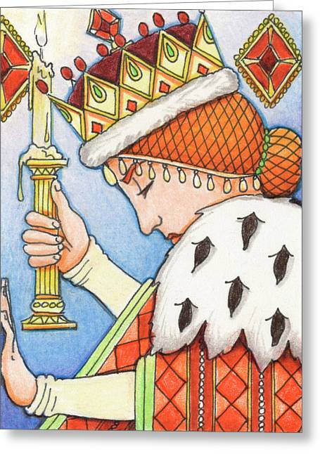 Illuminate Drawings Greeting Cards - Queen of Diamonds Greeting Card by Amy S Turner
