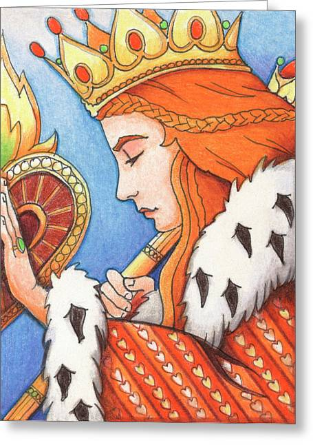Yang Drawings Greeting Cards - Queen of Hearts Greeting Card by Amy S Turner
