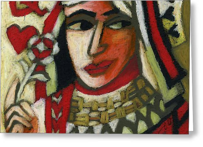 Heart Pastels Greeting Cards - Queen of Hearts Greeting Card by Erik Pearson