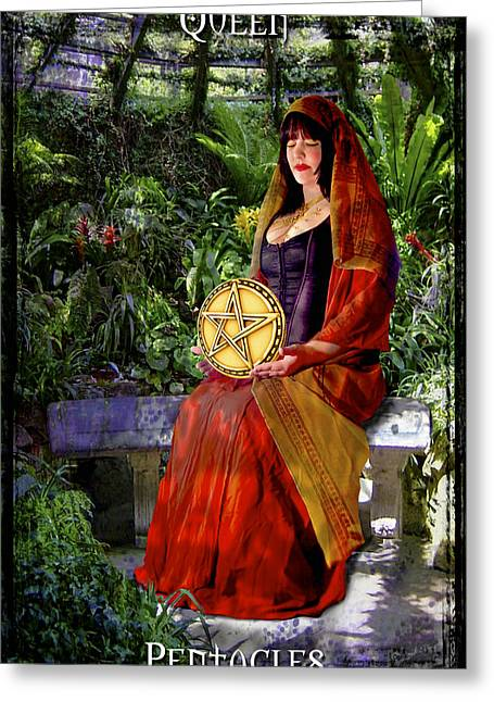 Coins Greeting Cards - Queen of Pentacles Greeting Card by Tammy Wetzel