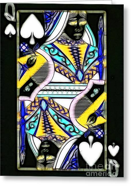 Playing Car Greeting Cards - Queen of Spades - v2 Greeting Card by Wingsdomain Art and Photography