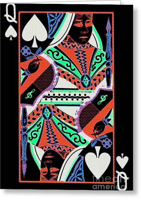 Deck Of Cards Greeting Cards - Queen of Spades Greeting Card by Wingsdomain Art and Photography