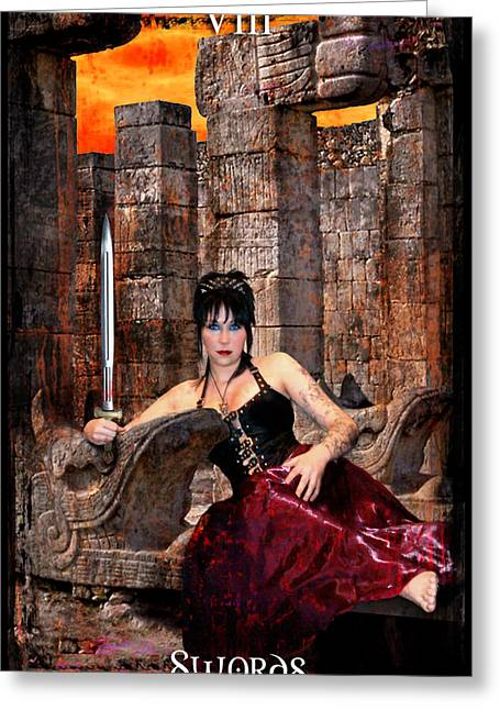 Divine Feminine Greeting Cards - queen of Swords Greeting Card by Tammy Wetzel