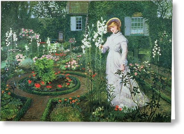 Flower Bed Greeting Cards - Queen of the Lilies Greeting Card by John Atkinson Grimshaw