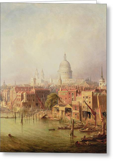 Warehouses Greeting Cards - Queenhithe - St. Pauls in the distance Greeting Card by F Lloyds