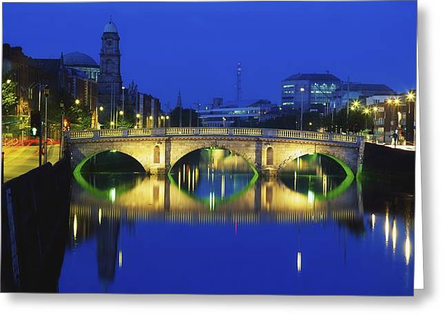 Reflections Of Building In Water Greeting Cards - Queens Street Bridge, River Liffey Greeting Card by The Irish Image Collection