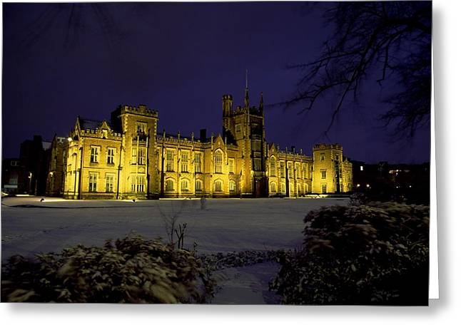 Snowy Night Night Greeting Cards - Queens University, Belfast, Ireland Greeting Card by The Irish Image Collection