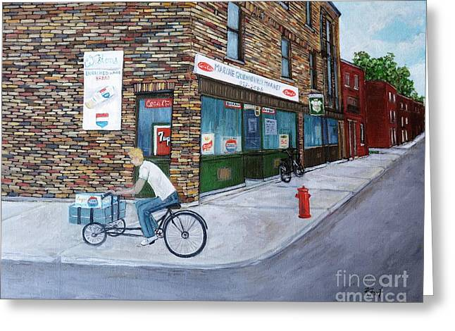 Streets Of Montreal Greeting Cards - Quenneville Study Greeting Card by Reb Frost